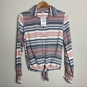 ROXY Emerald Earth Tie Front flannel shirt size XS